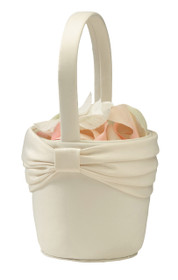 Satin Flower Basket Ivory