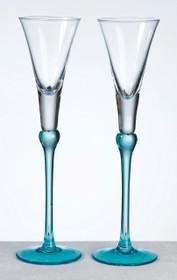 Set of Tall Flutes Aqua