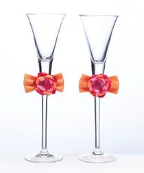 Hot Pink Orange Toasting Flutes