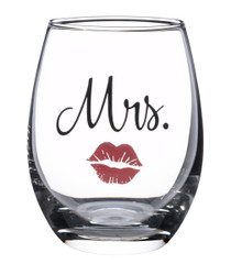 Mrs. Wine Glass With Red Lips