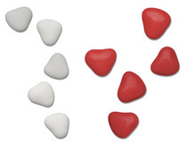 1kg Chocolate Heart Dragees 3cm Ivory