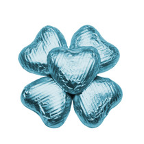 100 Solid Milk Chocolate Hearts in Blue Turquoise