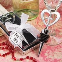 Elegant Heart And Cross Design Wine Bottle Stopper Favours