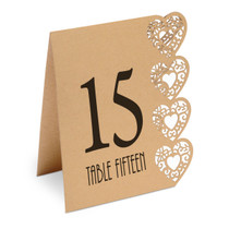 Heart Design Table Numbers 115 Kraft Brown
