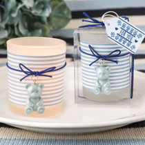 Blue teddy bear themed frosted glass votive from soleFavours