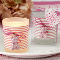 Pink Teddy bear themed frosted glass votive from soleFavours