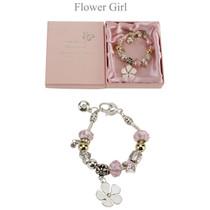 Amore Silver Pink Bead Charm Bracelet Flower Girl