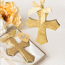 Gold Glitter Design Cross Ornament From White Dream