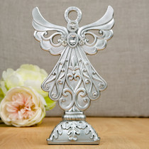 Stunning Angel Statue in Silver Poly Resin From White Dream