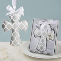 Silver Hampton Link Design Cross Ornament From White Dream