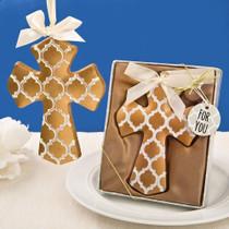Gold Hampton Link Design Cross Ornament From White Dream