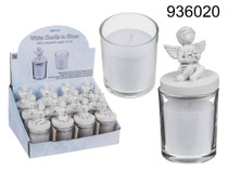 Candle Votive With Polyresin Angel Lid