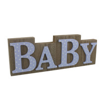 Petit Cheri' MDF Plaque Wood And Blue Polka Lettering Baby