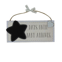 Petit Cheri' MDF Chalkboard 'Waiting For Baby' Blue