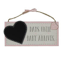 Petit Cheri' MDF Chalkboard 'Waiting For Baby' Pink