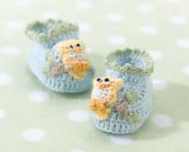 Blue Owl Booties 0-6 Months