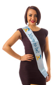 Blue Mum To Be Sash With Embroidered Logo