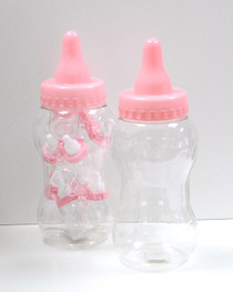 Large Pink Plastic Baby Bottle Container