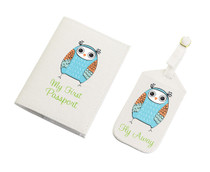 Blue Owl Luggage Tag And Passport Cover Set