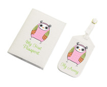 Pink Owl Luggage Tag And Passport Cover Set