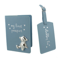 Button Corner PU My First Passport And Luggage Tag Blue