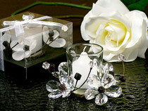 Elegant Black And White Crystals Flower Candle Holder