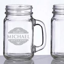 Engraved Set of 2 Mason Jar Glass Mugs