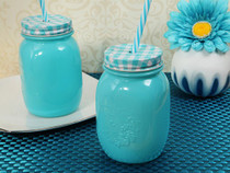 Rustic Country Comfort Blue Mason Jar Favour