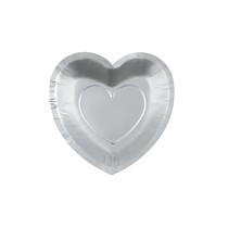 25 x Silver Heart Shaped Dessert Plates
