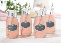 Set of 24 Black Pink Drink Cling Labels