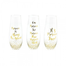 Set of 3 Stem less Wine Glasses With Gold Prosecco Messages
