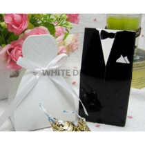 Bride Dress & Groom Tux Wedding Favour Boxes | Black & White
