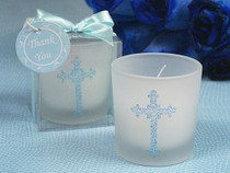 Blue Blessed Events Cross Design Candle Holder