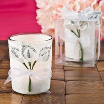 Silver Calla Lily Design Votive Candle Holder