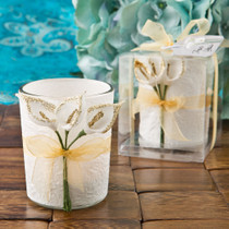 Gold Calla Lily Design Votive Candle Holder