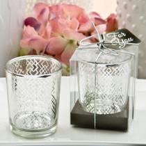 Magnificent Silver Mercury Candle Votive With A Geometric Design