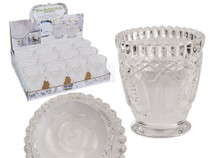 Glass Tealight Holder With White Rose Candle