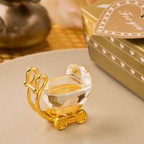 Choice Crystal Gold And Clear Crystal Baby Carriage