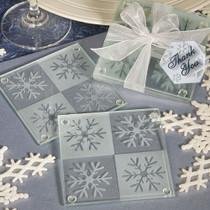 Lustrous Snowflake Glass Coaster Set