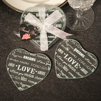 Heart Design Glass Coaster Favours Set of