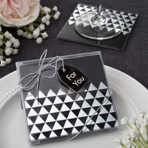Geometric Design Set of 2 Glass Coasters From White Dream