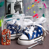 Oh So Cute Blue Star Print Baby Sneaker Key Chain
