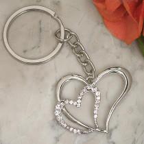 Elegant Chrome Double Heart Key Chain