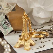 Paris Eiffel Tower Design Gold Key Chain Favour