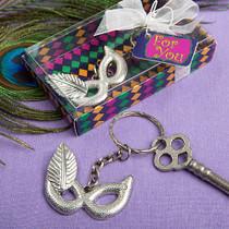 Mardi Gras Mask Silver Metal Key Chain