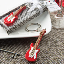 Classic Red Electric Guitar Design Key Chain