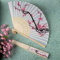 Delicate Cherry Blossom Design Silk Folding Fan Favours