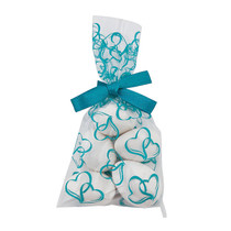 25 x Mini Turquoise Hearts Cellophane Bags