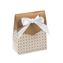 12 x Gold Tent Favour Boxes With Ribbon