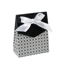 12 x Black Tent Favour Boxes With Ribbon